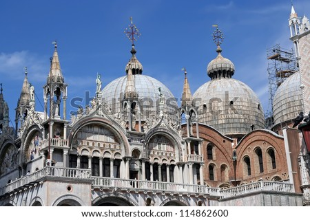 St Mark's Basilica in Venice, Italy. Saint Marco basilica. - stock photo