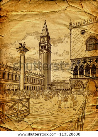 St. Mark's Campanile and The Doge's Palace, Venice - stock photo