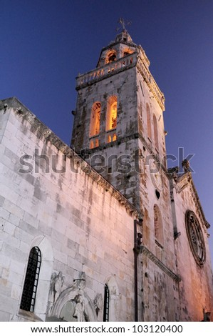 St. Mark's Cathedral in Korcula, Croatia - stock photo