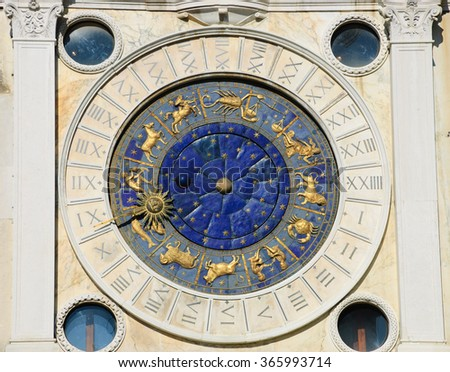 St Mark's Clock with Zodiac signs. Piazza San Marco in Venice (Italy)