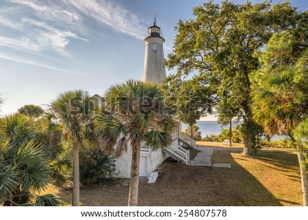 St. Marks National Wildlife Refuge lighthouse, Florida. The St. Marks Light is the second-oldest light station in Florida. - stock photo