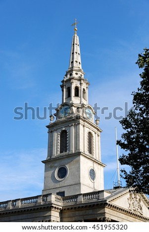 St Martin-in-the-Fields English Anglican church at the north-east corner of Trafalgar Square in the City of Westminster. London, England. - stock photo