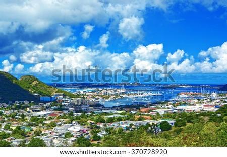 St Martin / Sint Maarten island, Caribbean sea - stock photo