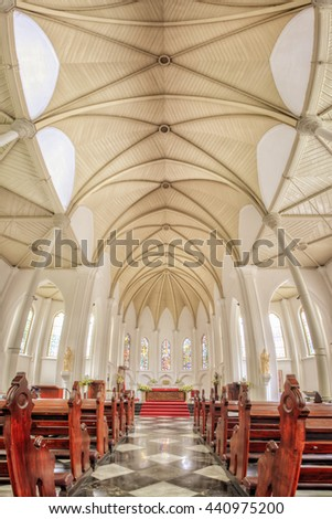 St Mary Cathedral Bogor, Indonesia. The Biggest Catholic Church in Town, Built during Colonial era. Date taken 24 July 2014 - stock photo