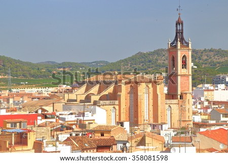 St Mary church and the historical quarter of Sagunto, province of Valencia, Spain  - stock photo