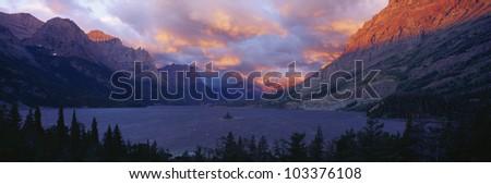 St. Mary Lake, Glacier National Park, Montana - stock photo