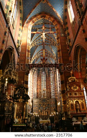 St. Mary's Basilica, Krakow, Interrior - stock photo
