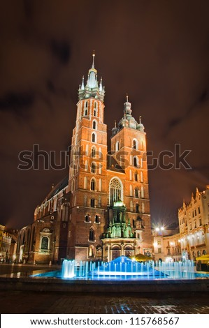St. Mary's Church at night. Krakow Poland.