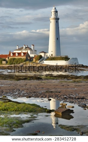 St Mary's Lighthouse, Evening light.  - stock photo