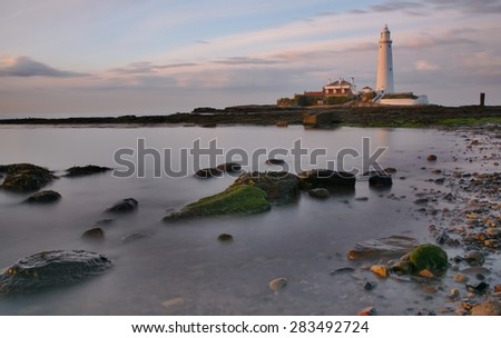 St Mary's Lighthouse in the Evening Light. - stock photo