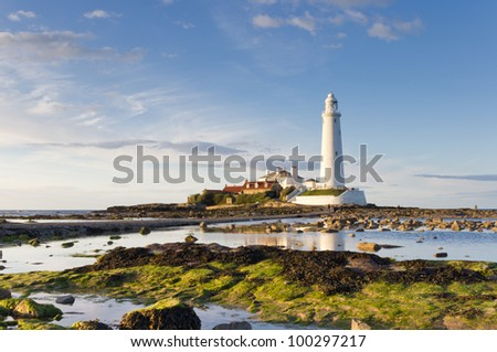 St Marys lighthouse at low tide from the rocks