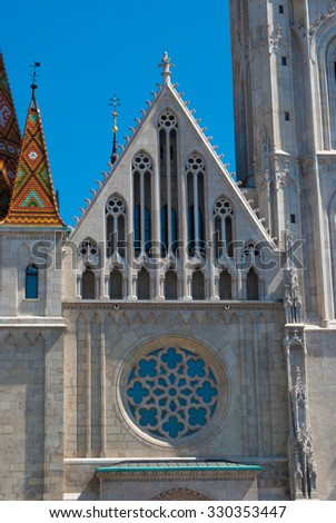 St. Matthias church in Budapest, Hungary. Saint Matthias cathedral. Beautiful gothic architecture in Hungary, travel destinations in Budapest.