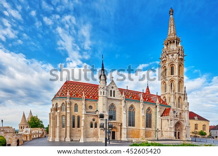 St. Matthias Church in Budapest. One of the main temple in Hungary. - stock photo
