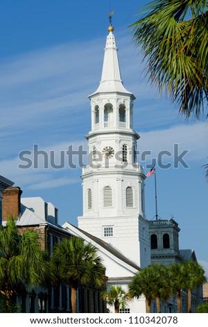 St. Michael Church in Charleston South Carolina - stock photo