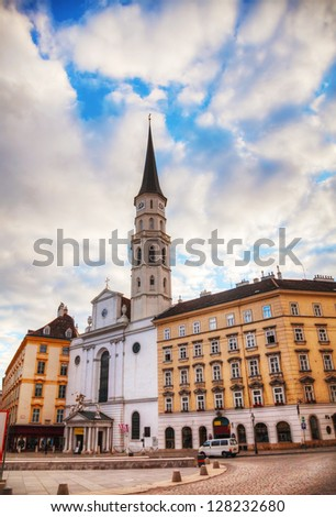 St. Michael's Church (Michaelerkirche) in Vienna at sunrise