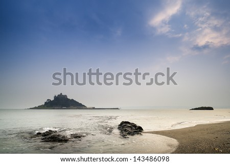 St Michael's Mount Bay Marazion long exposure landscape during twilight Cornwall England - stock photo