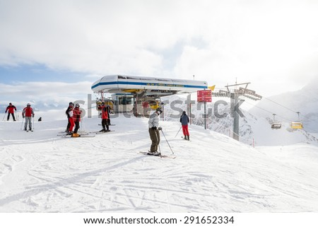 ST. MORITZ, SWITZERLAND - DECEMBER 13: View of the ski resort  in the town of St. Moritz in the Engadine valley in Switzerland on December 13, 2009. It is a municipality in the canton of Graubunden.