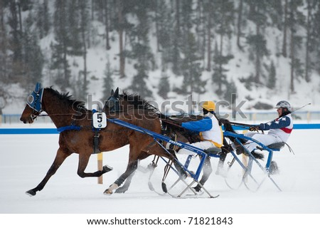 ST. MORITZ, SWITZERLAND  - FEBRUARY 20: Victory of Magic day (#5) with Rother Christine in Grand Prix GAGGENAU Hausgerate on February 20, 2011 in St. Moritz, Switzerland