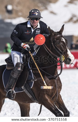 St. Moritz ( Switzerland ) - January 30,2016: Game actions at the Snow Polo World Cup St.Moritz 2016