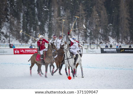 St. Moritz (Switzerland) - January 3, 2016 - St. Moritz becomes the world capital of polo, teams from around the world compete for the coveted Cartier Trophy on the frozen lake.