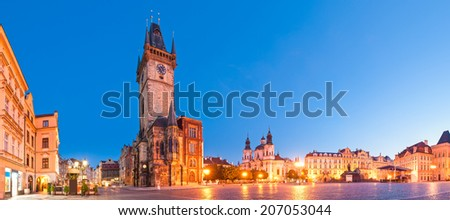 St Nicholas Church and the Old Town Square in the city of Prague. - stock photo