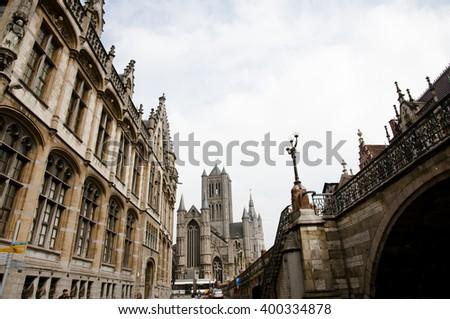 St Nicholas Church - Ghent - Belgium - stock photo