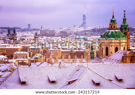 St.Nicholas church in Prague, Czech republic, beautiful architecture in baroque style, wonderful cityscape in the winter, travel to Europe  - stock photo