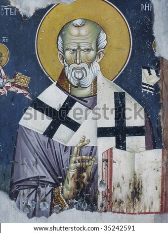 St Nicholas, medieval fresco, Kosovo, Serbia - stock photo
