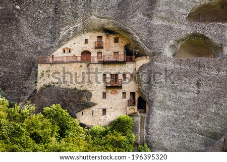 "St Nikolaos Badovas Monastery in Meteora rocks, meaning ""suspended into air"" in Trikala, Greece - stock photo"
