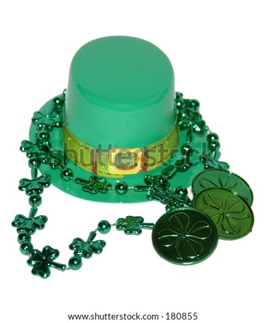 St. Paddy's hat and coins - stock photo