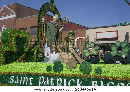 St. Patrick blessing crowd, St. Patrick's Day Parade, 2014, South Boston, Massachusetts, USA, 03.16.2014 - stock photo