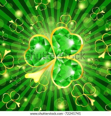 St.Patrick day theme: emerald shamrock over green background - stock photo