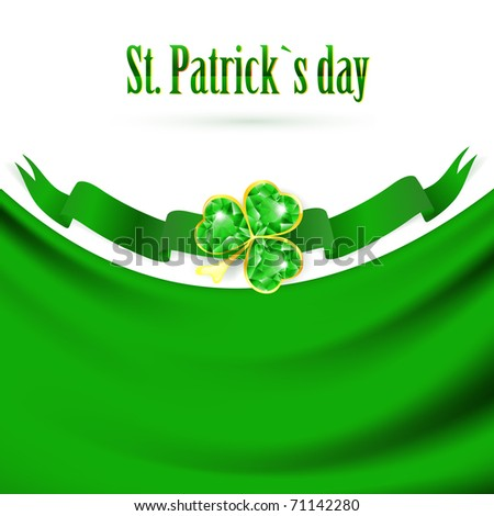 St.Patrick holiday drapery frame with jewelry shamrock at green banner, copy space - stock photo