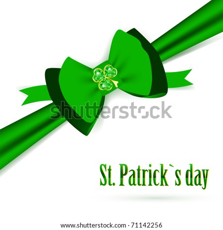 St.Patrick holiday green bow with emerald shamrock over white - stock photo