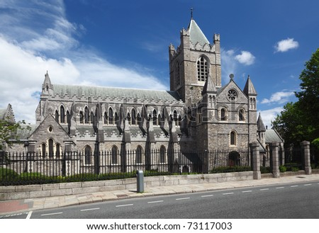 St. Patrick's Cathedral and blue sky in Dublin, Ireland, horizontal