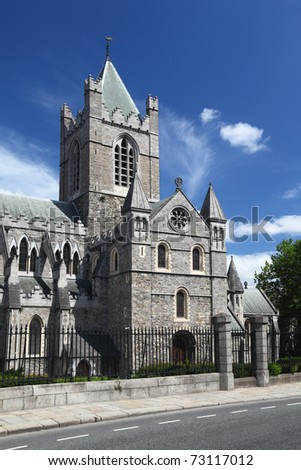 St. Patrick's Cathedral and blue sky in Dublin, Ireland, vertical - stock photo