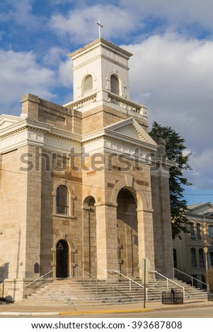 St. Patrick's Catholic Church in small Midwest town of LaSalle, Illinois. - stock photo