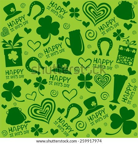 St. Patrick's day background in green colors. Seamless pattern.  illustration. - stock photo
