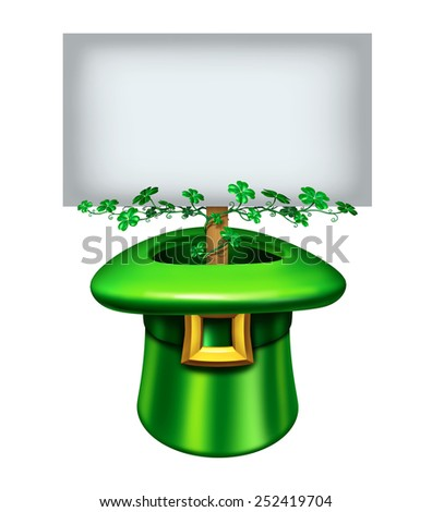 St.Patrick's day blank sign with a green leprechaun hat decorated in clover leaf and a banner inside with white copy space as a festive holiday celebration for the month of march.