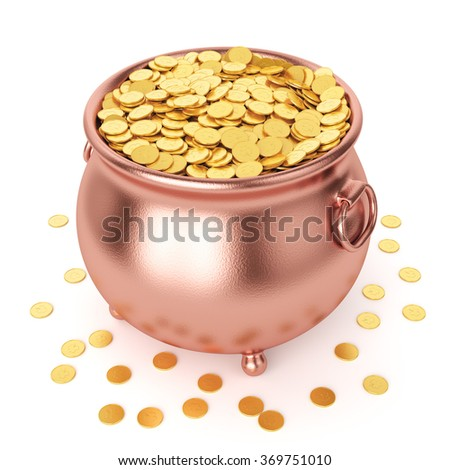 St Patrick's day celebration concept. Copper pot with gold coins isolated on white background. - stock photo
