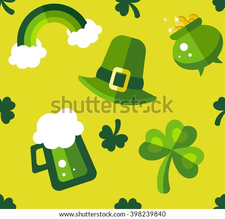 St Patrick's Day green and yellow seamless pattern. Funny and stylish flat pattern best for wrapping paper, decor and postcard - stock photo