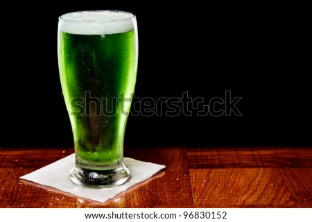 St Patrick's day green beer isolated on a black background - stock photo