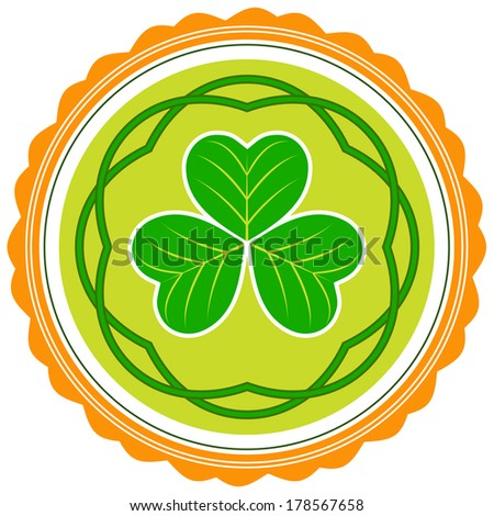 St. Patrick's day icon with shamrock: raster version - stock photo