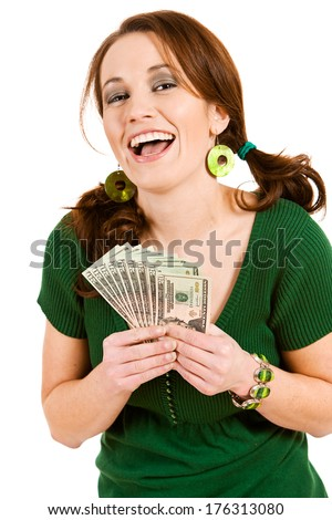 St. Patrick's Day: Laughing And Holding Money Fan
