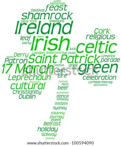 St. Patrick's Day shamrock shaped tag cloud / Saint Patrick's Day tag cloud shamrock - stock photo