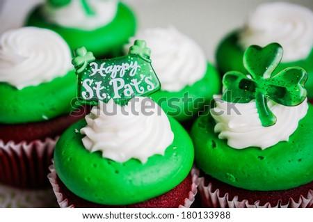 St.Patrick's Day velvet cupcakes - stock photo