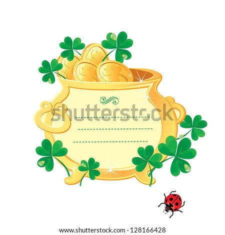 St. Patrick's design - frame is made of  gold pot with gold coins and shamrock. Raster version