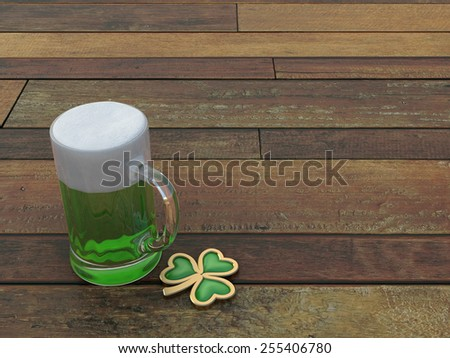 St. Patrick's Green beer with shamrock. 3d render. On wood background. - stock photo
