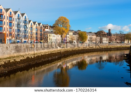 St Patrick's Quay on the north channel of river Lee. Cork city, county Cork, Ireland - stock photo