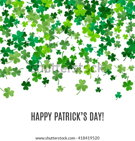 St Patricks Day background. illustration for lucky spring design with shamrock. Green clover border and frame isolated on white background. Ireland symbol pattern. Irish header for web site. - stock photo
